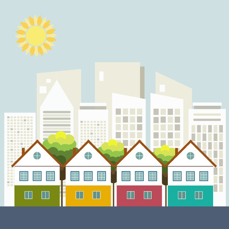 Colorful City, Real Estate, Healthy Living Concept Çizim