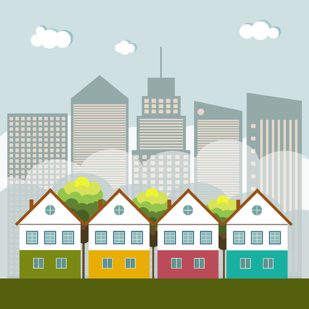 Colorful City, Real Estate, Healthy Living Concept Illustration
