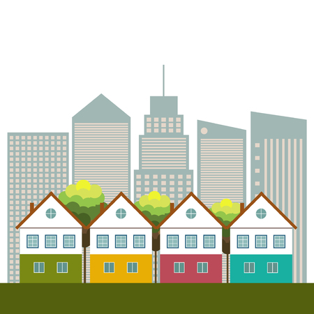healthy living: Colorful City, Real Estate, Healthy Living Concept Illustration