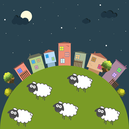Good Night Theme With Colorful Houses And Sheep Illustration