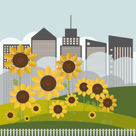 Colorful Illustration With Sunflowers And Skylines Illustration