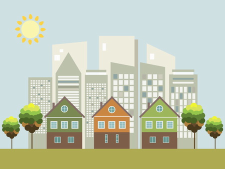 Modern Green City Concept Illustration