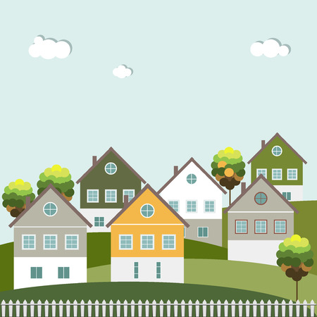 Colorful Houses For Sale  Rent. Real Estate. Energy Efficiency, Think Green Concept