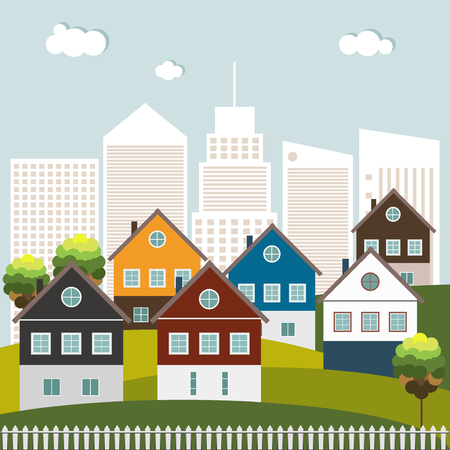 Colorful Houses For Sale  Rent. Real Estate Concept. Skylines Background
