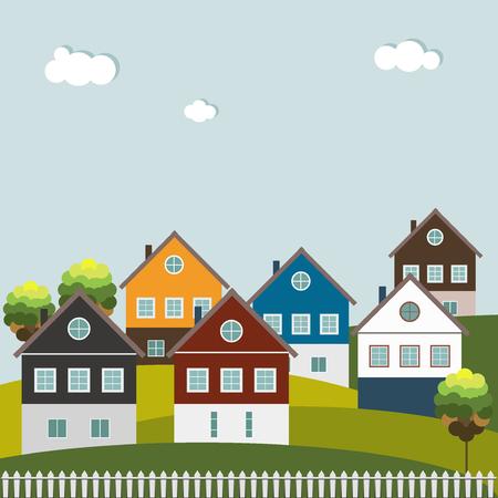 Bunte Häuser zu verkaufen / vermieten. Immobilien-Konzept. Standard-Bild - 65658298