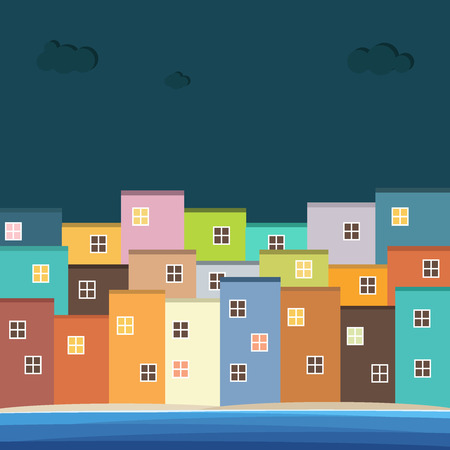 Colorful Houses For Sale  Rent. Real Estate Illustration