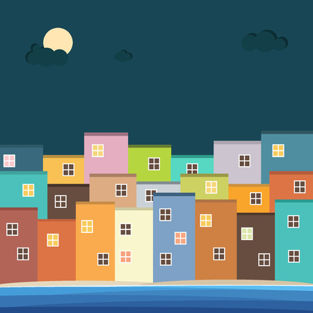 panoramic beach: Colorful Houses For Sale  Rent. Real Estate Illustration