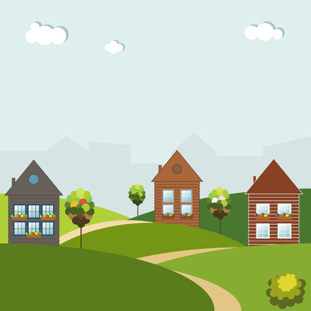 Colorful Houses For Sale  Rent. Real Estate Concept.