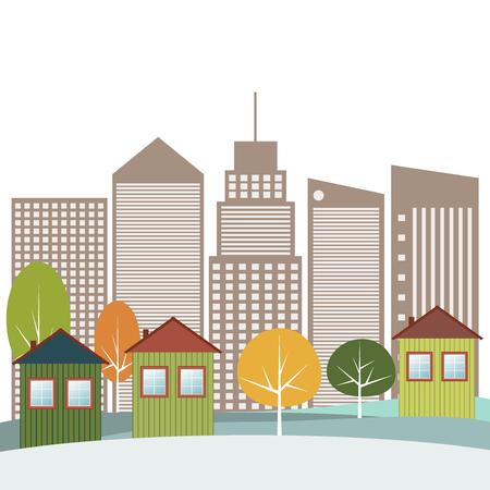 Modern Green City Concept Ilustração