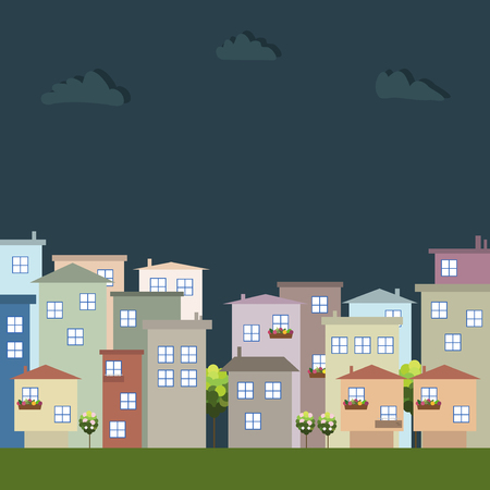 Colorful Eco City At Night, Apartments For Rent  Sale, Real Estate Illustration