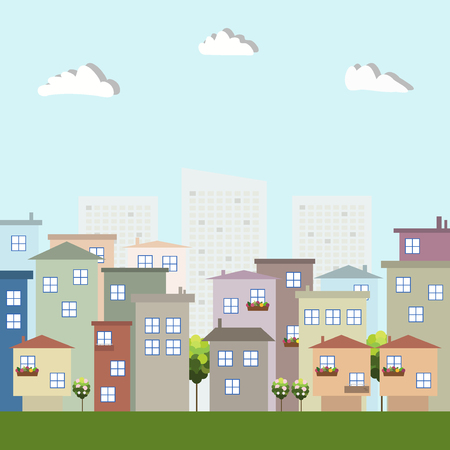Colorful Eco City With Apartments For Rent  Sale And Skylines, Real Estate Illustration