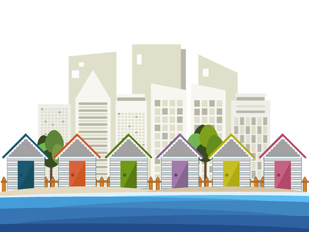skylines: Colorful Beach Huts, Skylines Background Illustration