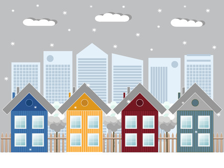 Cozy Wooden Houses, Winter Theme Illustration
