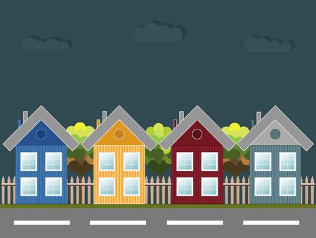 wooden houses: Colorful Wooden Houses At Night Illustration