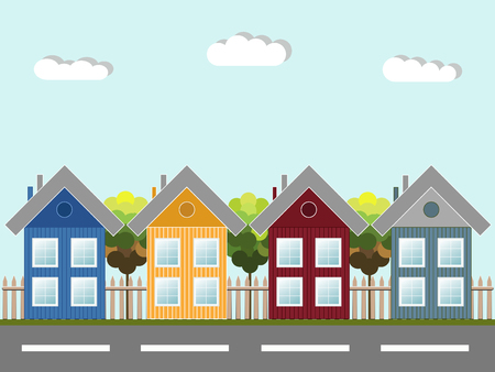 Colorful Wooden Houses, Modern Eco City Concept