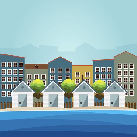 city background: Colorful Beach Huts, City Background