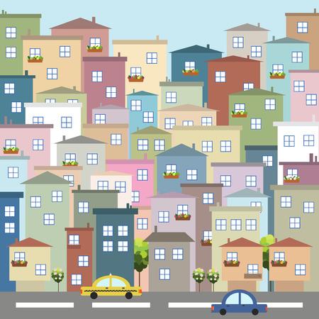 Ciudad de colorido. Apartamentos en venta / alquiler. Concepto de bienes raíces