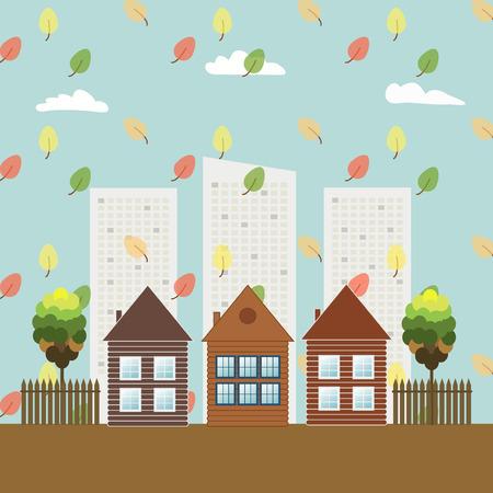 Modern Eco City, Think Green Concept, Autumn Theme Illustration