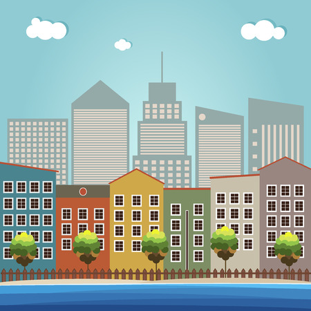 city background: Colorful Beach Houses, City Background