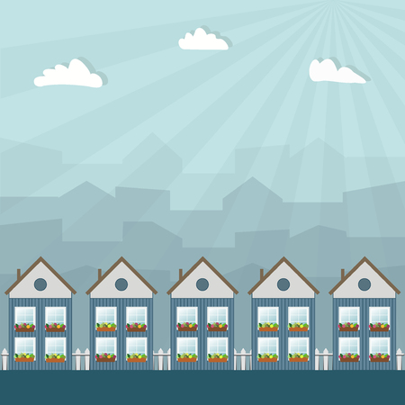Wooden Houses, City Haze Background And Rays Of Light Illustration