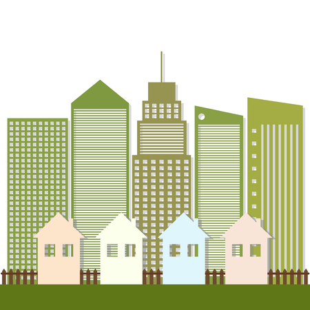 immovable property: Modern Green City Concept Illustration