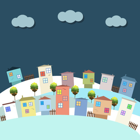 immovable: Colorful Eco City At Night, Apartments For Rent  Sale, Real Estate Illustration