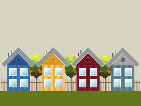 Colorful Wooden Houses, Think Green Concept