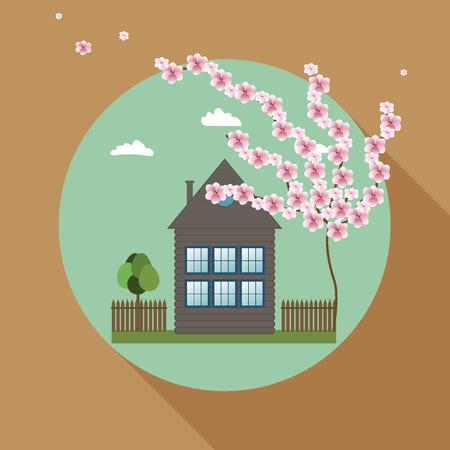 Acogedora casa de madera, concepto de bienes raíces, Sunny fondo, Sombra Larga