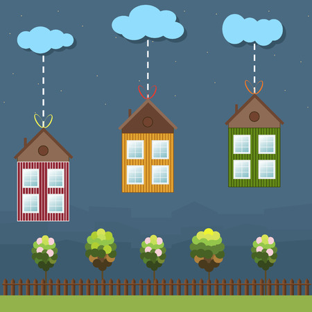 wooden houses: Colorful Wooden Houses Gifts, Real Estate And Eco Life Concept