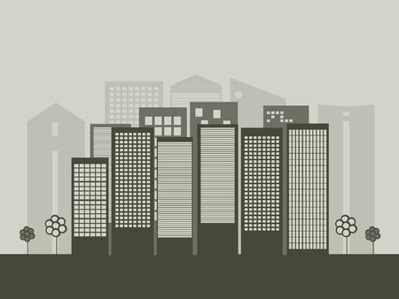 blimp: Modern Business City Concept Illustration