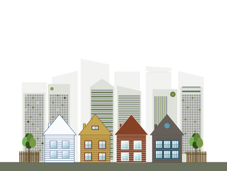 renting: Colorful City, Real Estate Concept Illustration
