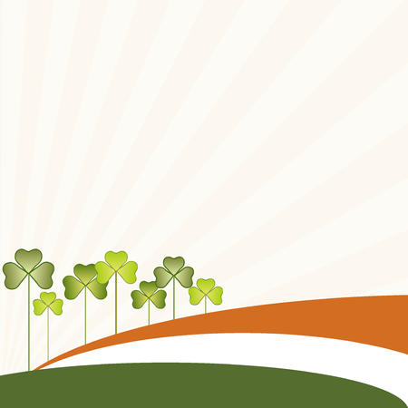 three leaved: Abstract St. Patricks Day Background, Irish Flag And Three-Leaved Shamrock
