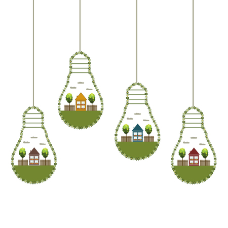 Green Light Bulbs With Wooden Eco Houses And Trees, Think Green Concept Illustration