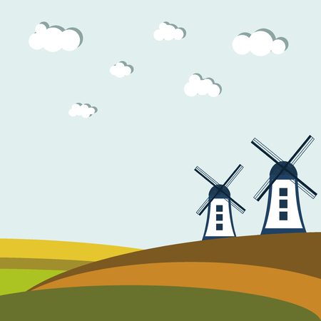 wind mills: Colorful Autumn Fields With Windmills