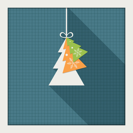 complimentary: Abstract Card With Colorful Christmas Tree, Long Shadow Illustration