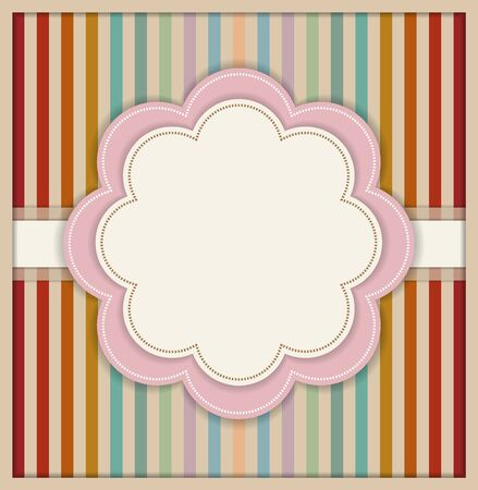 complimentary: Abstract Greeting Card With Flower And Colorful Retro