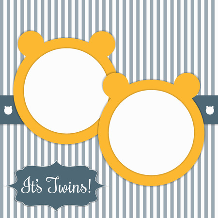 Baby Shower Card With Sunny Yellow Bears And Stripes. Its Twins. Illustration
