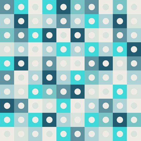 Abstract Geometric Pattern Background With Blue Squares And Light Circles Иллюстрация