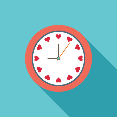 Colorful Illustration Of Clock With Hearts Illustration