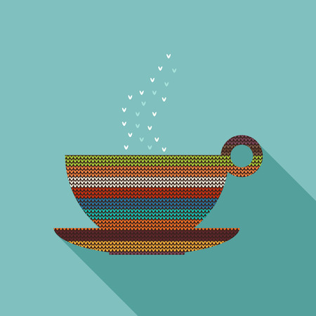Abstract Knitted Cup Of Tea  Coffee With Long Shadow