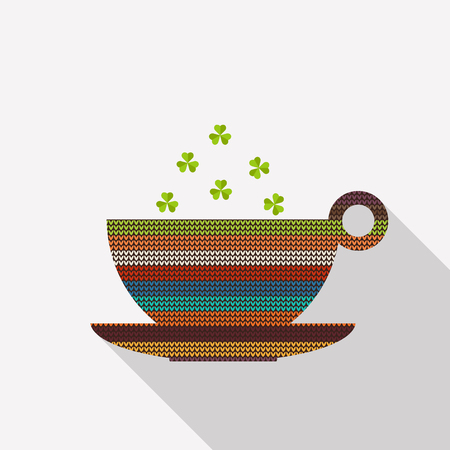 lucky break: Abstract Cup Of Coffee  Tea, Made Of Colorful Knitted Pattern With Shamrocks