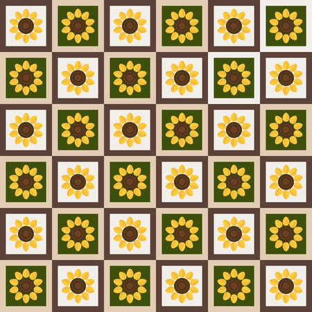 Abstract Floral Pattern Background With Colorful Squares And Sunflowers Illustration