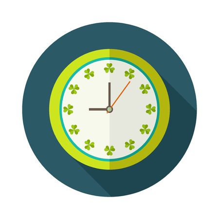 clover face: Clock Icon With Shamrocks And Long Shadow. Positive Start Of The Day Concept Illustration