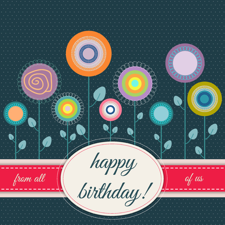 Happy Birthday Card With Abstract Flowers