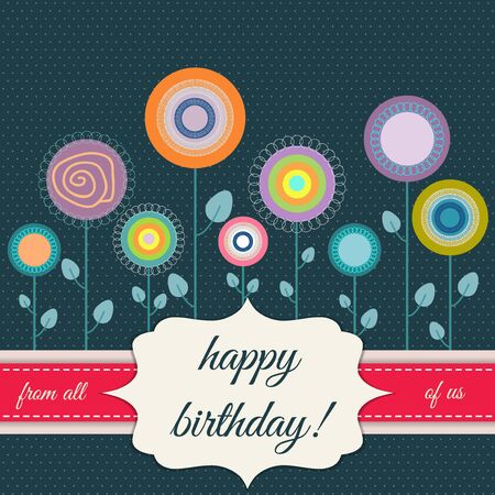 happy: Happy Birthday Card With Abstract Flowers