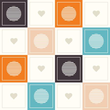 Abstrakter geometrischer Muster-Hintergrund mit bunten Quadraten, empfindliche Herzen und Kreise Standard-Bild - 75052924