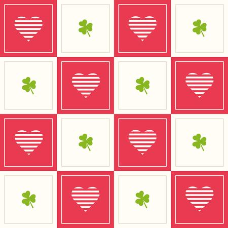 Abstrakter geometrischer Muster-Hintergrund mit bunten Quadraten, Herzen und drei Blatt-Klee Standard-Bild - 75077389