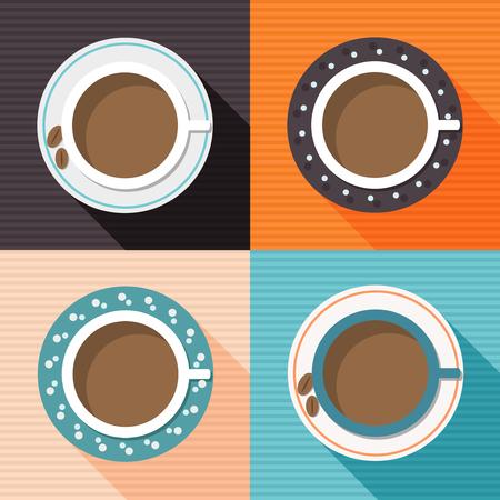 Kleurrijke porseleinen kopjes koffie met lange schaduw en kleurrijke vierkanten. Positieve en grappige start van de dag.