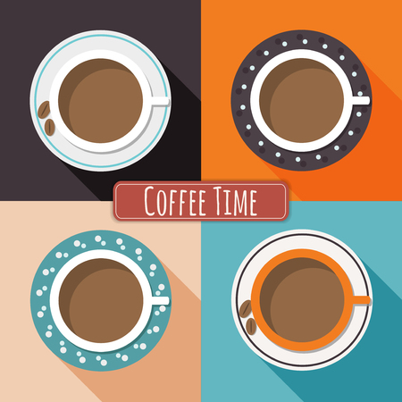 energized: Colorful Porcelain Cups Of Coffee With Long Shadow And Colorful Squares. Positive And Funny Start Of The Day. Illustration