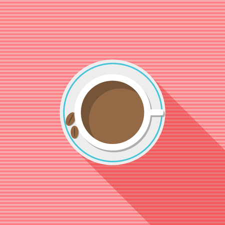 energized: Porcelain Cup Of Coffee With Long Shadow, Beans And Pink Stripes. Illustration